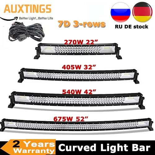 22  32  42  52  270W 405W 540W 675W Curved LED Light Bar Offroad Led Bar Combo Beam 9v 30v For 4x4 4WD SUV ATV Boat Truck Cars