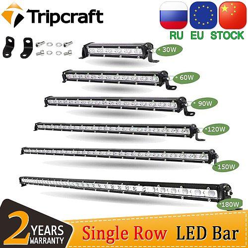 Tripcraft Single Row super Slim LED Light bar 7  13  20  25  32  38'' inch LED Work Light Bar 90W 120W 150W 180W OffRoad 12V 24V