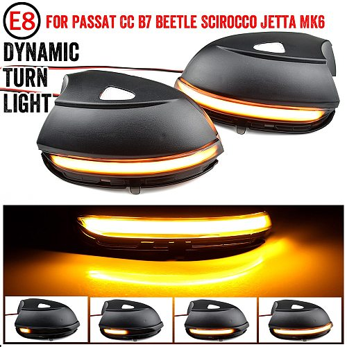 LED Side Wing Dynamic Turn Signal Light Rearview Mirror Indicator For VW Passat CC B7 Beetle Scirocco Jetta MK6 Euro PR