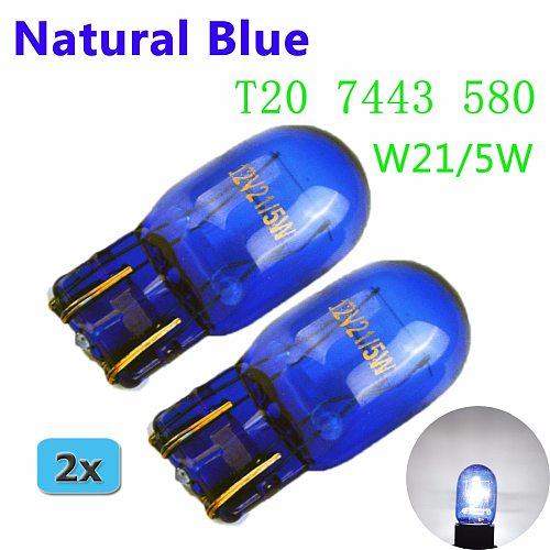 flytop (2 Pieces/Lot) 580 7443 W21/5W XENON Super White T20 Natural Blue Glass 12V 21/5W W3x16q Car Light Bulb Auto Lamp