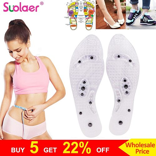 Acupressure Slimming Insoles Foot Massager Magnetic Therapy Weight Loss Shoe Pads For Men Women Massage Arch Support Dropship