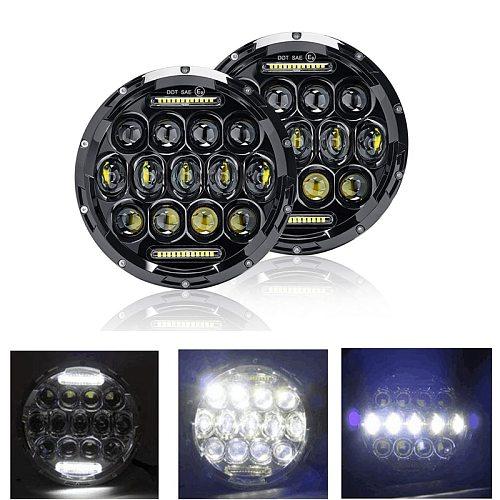 2Pcs 7 Inch Round 150W Total LED Headlights for JEEP Wrangler JK TJ LJ 1997-17