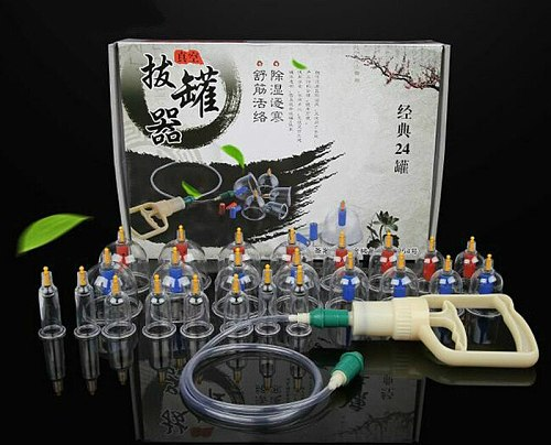 24Pcs Massage Cans Health Monitors Chinese Cupping Therapy Cans Opener Pull Vacuum Cupping massage Cups Banks Tank Set Care Tool