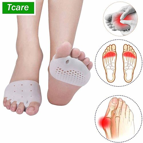 Tcare Foot Care Brace Support Gel Foot Pads, Correct Toes Naturally with Toe Separators Great Choice for Fighting Bunions Unisex