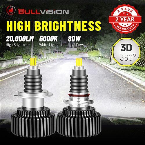 BULLVISION LED H7 Headlamp 20000LM 360 Degree H4 9012 HIR2 H1 H11 H8 H9 9005 9006 HB3 HB4 CSP Chips 6000K 8000K Hi/Lo Beam Bulbs