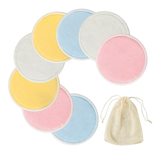 8pcs/16pcs Women Remover Pads Velvet Bamboo Fiber Reusable Cotton Pads Triple Wipe Pads Cleaning Pads Washable Drop Shiping