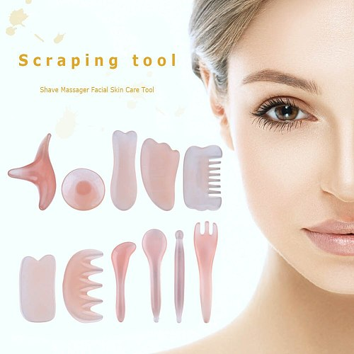 Natural Resin Beeswax Massage Guasha Scraper for Face Neck Body Guasha Scraper SPA Therapy Massage Board Face Skin Care Tools
