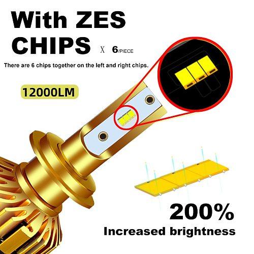 BAGELED Canbus H7 LED H4 Lamp H1 H3 HB3 9005 Led Headlight 9006 hb4  H11 H27 881 LED Headlamp 12000LM 72W ZES Chip Led bulb 12V