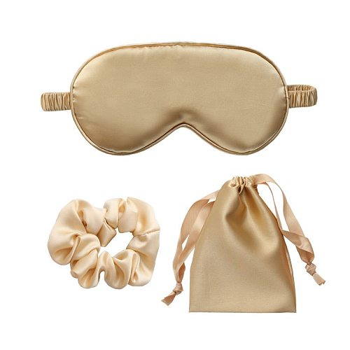 Imitated Silk Sleep Eye Mask Travel Sleeping Eyeshade Cover Nap Eyepatch Blindfold Patch Rest Snore+Carrying Pouch Bag+Hair Ring