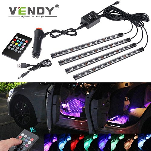 4pcs Auto LED RGB Interior Atmosphere Strip Light With USB Wireless Music Control Multiple Modes Decorative Lamp For The Car
