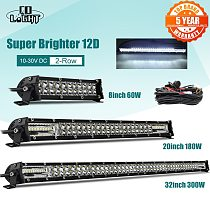 CO LIGHT Super Slim 12D 8  20  32  LED Light Bar Spot Flood 60W 180W 300W Led Bar 4x4 for ATV SUV Offroad LED Work Light 12V 24V