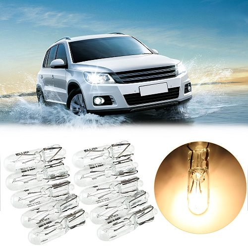 FORAUTO 10pcs T5 286 Halogen Bulb Car Instrument Panel Lamp Auto Wedge Dashboard Lamp 1.2W 12V Light Source Car-styling