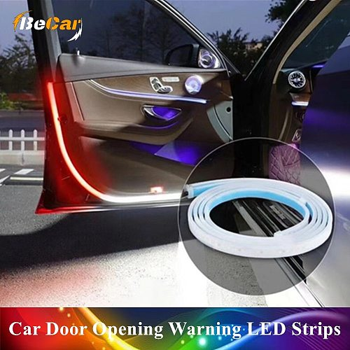 1/2/4 Pcs 48  Universal Car Door Opening Warning LED Lights Strips Welcome Decor Lamp Strip Anti Rear-end Collision Safety Light