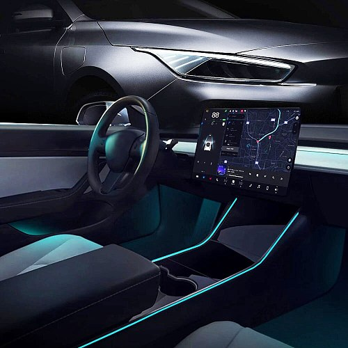 For Tesla Model 3 Model Y Interior Neon Lights Model 3/Y Accessories Car Decor RGB Ambient Led Strip Lights With App Controlled