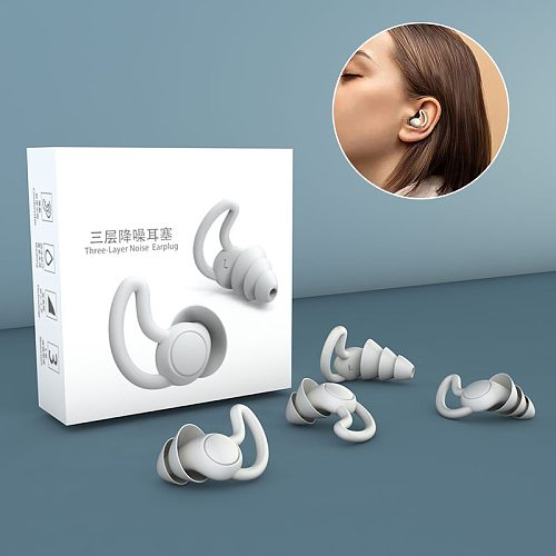 1 Pair Earplugs Protective Ear Plugs Soft Silicone Grey Black Anti-noise Earphones Protector for Travel Sleep and Snoring