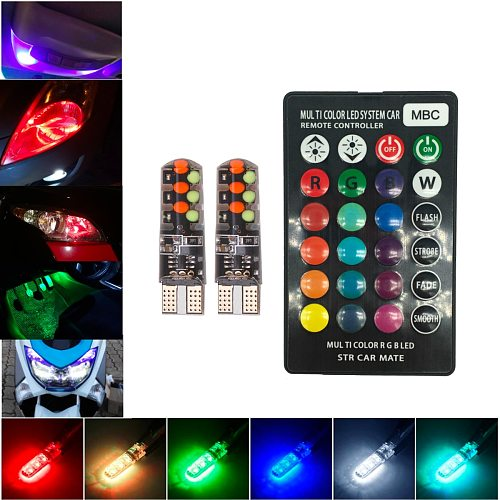 12V T10 W5W Silicone Car RGB 12 COB LED Side Wedge Light Dome Reading Lamp Flash Strobe Decoration Lights Remote Controller