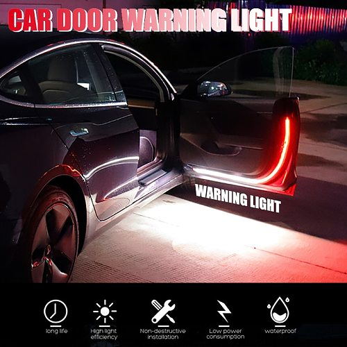 12V Car LED Interior Door Welcome Light  Warning Strobe Signal Lamp Strip Waterproof  Auto Decorative Ambient Lights