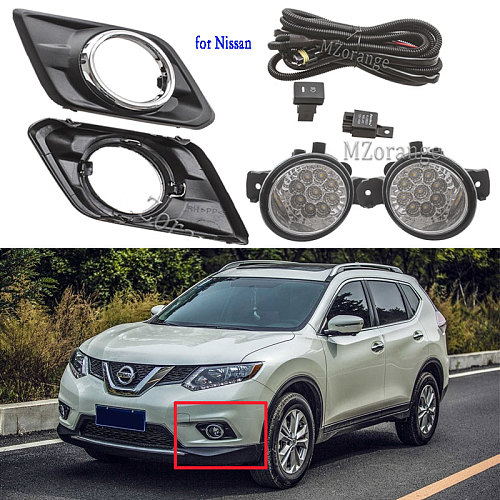 for Nissan X trail T32 Rogue 2014-2017 fog lights LED fog light headlight Switch Harness Cover fog lamp Assembly frame Grilles