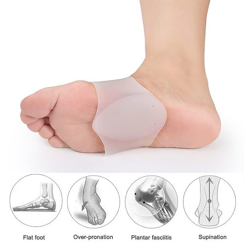 Tcare 1Pair Arch Support Brace - Non-Slip Sole Foot Arch Support Plantar Fasciitis Heel Pain Aid Feet Care Absorb Shock Cushion