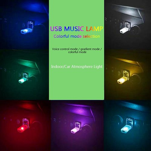 Mini 7-In-1 Car USB Atmosphere Light Touch Music Control Mini LED Decorative Light Car Ambient Light Colorful Night Light In Car