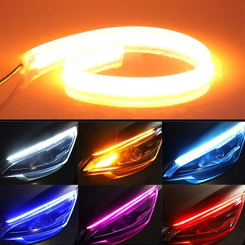 2x Waterproof Car Headlight Decorative Led Strip Dual Color Streamer Light Strip Flexible Turn Signal DRL Daytime Running Lamp