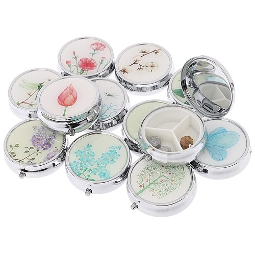 1PCS Medicine Organizer Portable Pill Box Makeup Storage Container  Folding Pill Case Metal Pill Cutte