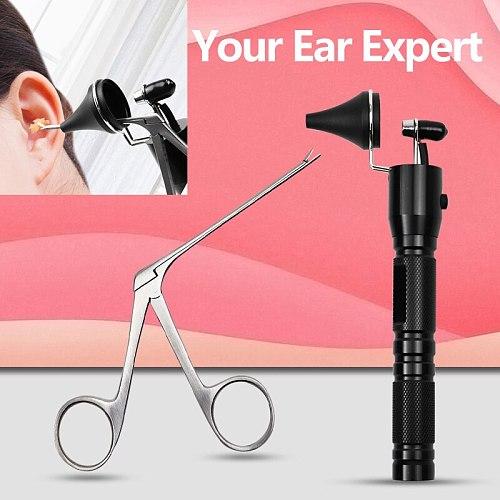 New Ear Pick Endoscope Earwax Remover Hartman Micro Alligator Crocodile Forcep Earpick Nose Operational Cleaner Clip Tweezer Set