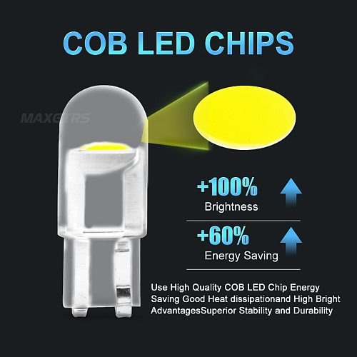 20Pcs Auto T10 Led Cold White 194 W5W LED 168 COB Silica Car Super Bright Turn Side License Plate Light Lamp Bulb DC 12V