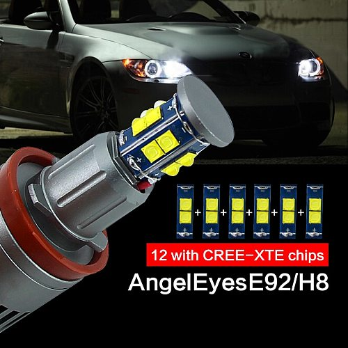 2pcs/1Set 2x120W 240W E92 H8 LED Angel Eyes Led Marker Lights canbus for BMW X5 E70 X6 E71 E90 E91 E92 M3 E89 E82 E87 Headlight