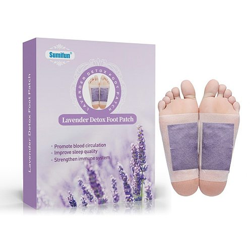 12pcs/Box Lavender Essential Oil Bamboo Vinegar Detox Feet Slimming Cleansing Herbal Body Health Adhesive Pad Weight Loss
