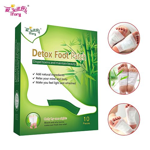Ifory Brand 10 Pieces/Box Slimming Detox Foot Patch Absorb Toxins from Body Keep Health & Beauty Adhesives Bamboo Vinegar Pads