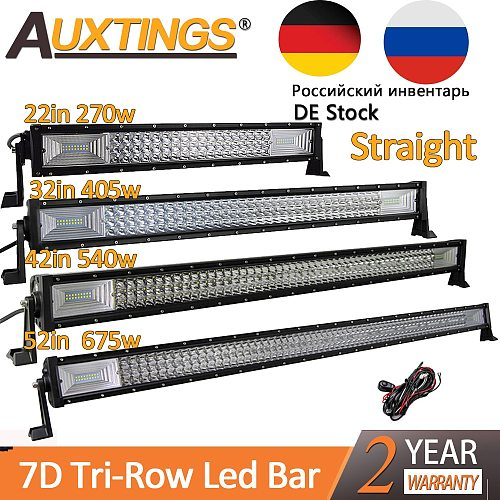Auxtings 22  32  42  52 inch Led Light Bar Work Light 7D led bar 3-Row 4x4 Truck ATV Car Offroad Driving Straight Light Bar