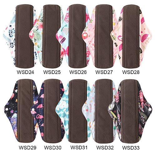 OhBabyKa Washable Sanitary Pads Bamboo Cloth Pads Reusable Serviette Hygienique Cartoon Print Women Menstrual Pads Size S M L