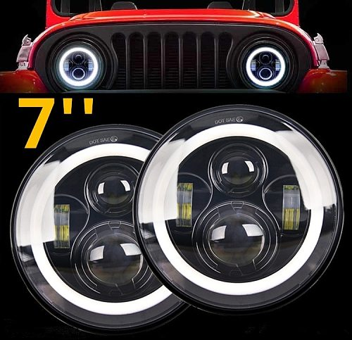 CO LIGHT 7inch LED Headlight 50W/30W Angle Eye DRL Amber Car Led Driving Lights E9 12V 24V Hi/Lo Beam For Lada Niva 4x4 Offroad