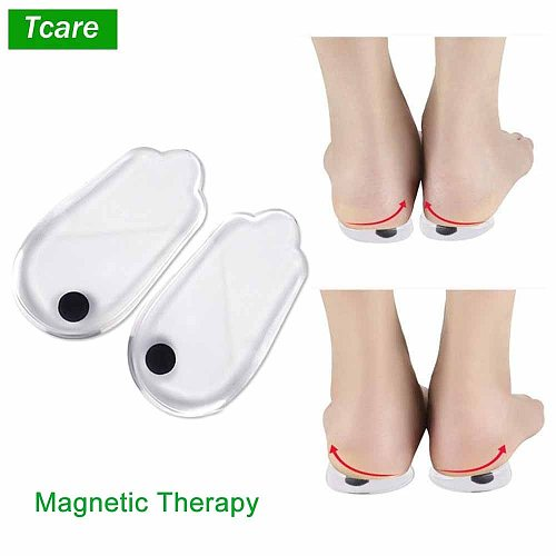 Tcare 1Pair Magnetic Therapy Silicone Insoles Orthotics X/O-type Legs Corrector Gel Pillow Heel Orthopedic Insoles Shoes Patches
