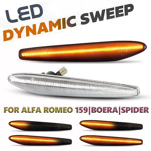 2Pcs LED Dynamic Side Marker Lights Arrow Turn Signal Blinker Lamps For Alfa Romeo 159 / 159 Sportwagon / Boera / Spider typ 939