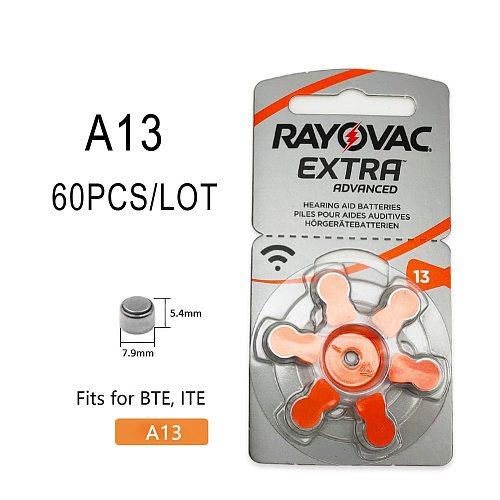 60 PCS Rayovac Extra Zinc Air Hearing Aid Batteries A13 13A 13 P13 PR48 Hearing Aid Battery A13 for Hearing Aids