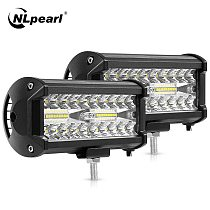 Nlpearl 4'' 7'' Light Bar/Work Light 60W 120W Led Bar Offroad Combo Led Work Light Bar for Tractor Truck 4x4 SUV Jeep 12V 24V
