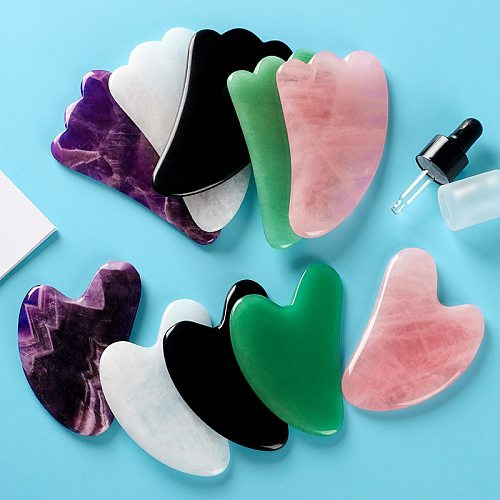 New Multicolor Natural Jade Facial Beauty Scraping Massage Tools Firm Skin Care Face Gua Sha SPA Physical Therapy Gue Che Roller