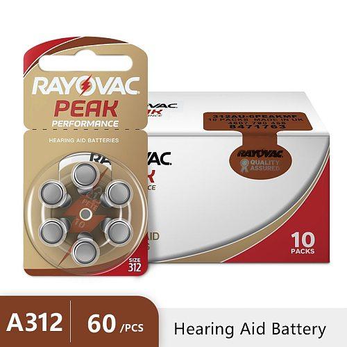 60PCS RAYOVAC PEAK Hearing Aid Batteries A312 312A ZA312 312 PR41 S312, 60 PCS Hearing Aid Battery Zinc Air 312 A312