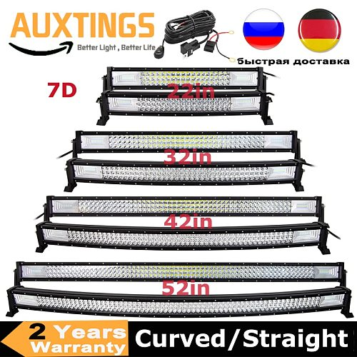 Curved/Straight 22 32 42 52inch 675W 540W Led Light Bar Driving Lights 7D 3-Rows Offroad Truck SUV ATV Tractor Car Boat