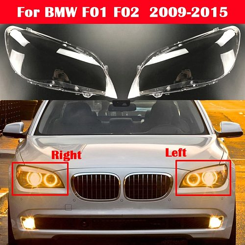 Auto Lamp Case For BMW 7 Series F01 F02 730Li 740Li 750Li 760Li 2009-2015 Glass Lens Shell Car Front Headlight Cover Light Caps