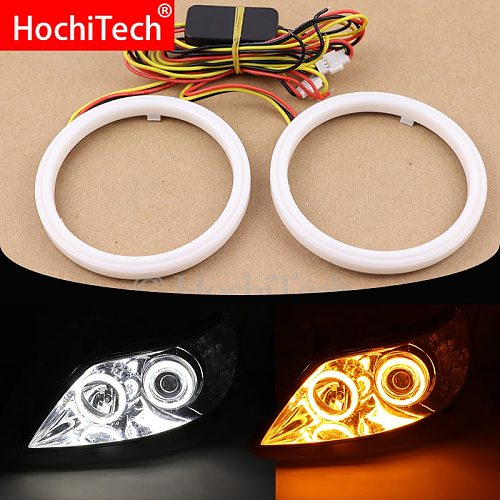 Cotton White and Yellow Switchback Halo Rings Angel Eye 60mm 70mm 80mm 90mm 100mm 110mm 120mm Auto DRL Eyes with Turning Signal