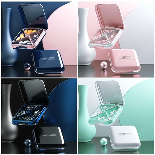 4 Grid Waterproof Medicine Pill Box For Storage Travel Pill Case Vitamins Container Plastic Box Capsules Organizer For Tablets