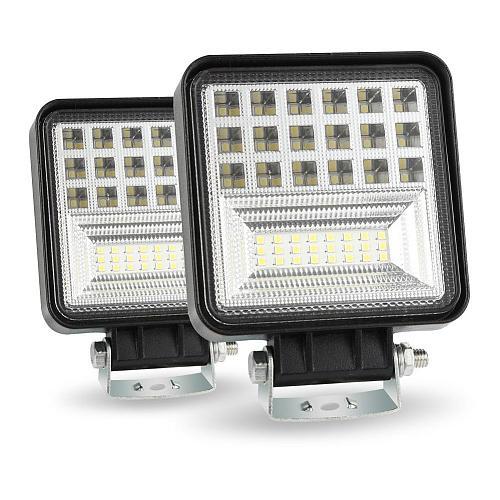 400W 6000K 4 LED Work Light Bar Flood Spot Beam Offroad Car Truck Daylight High beam Lamp Cross-country For SUV Driving Fog Bulb