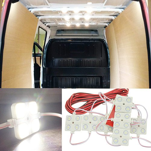 10x4 LEDs Car Roof Light Kit Van Interior Ceiling Lighting Waterproof Inside Bright White Lamp For RV Boat Trailer Lorries 12V