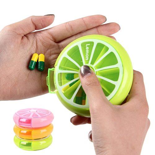 Rotating 7 Days Pill Container Lemon Pill Box Splitter Pill Organizer Medicine Box Travel Dispenser Pillbox Health Care Tools