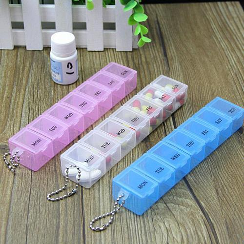 Portable 7 Day Mini Weekly Tablet Pill Medicine Box Holder Storage Organizer Container Case Pill Box Splitters Travel Pill Box