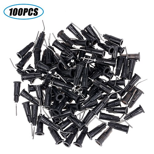 100PCS Delievery Syringe Tips Equipment Dental Needle Irrigation Bent Needle Tips Dental Flow Composite Resin Acid Reagent