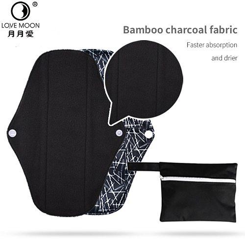 5 Pcs Feminine Reusable Washable Bamboo Towels Charcoal Cloth Sanitary Napkin Menstrual Panties Pads for Menstruation Liners